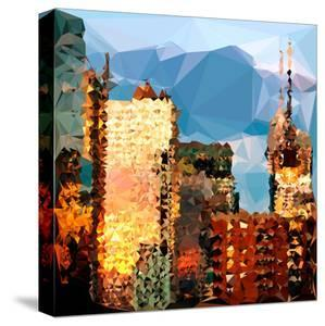 Low Poly New York Art - Reflection of the Sunset III by Philippe Hugonnard