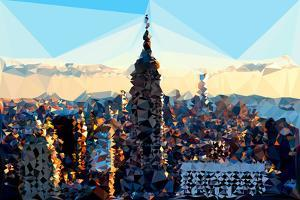 Low Poly New York Art - Skyline Sunset by Philippe Hugonnard