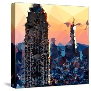 Low Poly New York Art - Skyscrapers Sunset II by Philippe Hugonnard