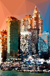 Low Poly New York Art - Skyscrapers Sunset by Philippe Hugonnard
