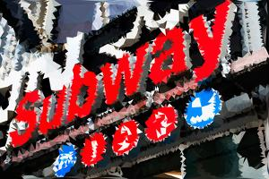 Low Poly New York Art - Subway Sign by Philippe Hugonnard