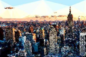 Low Poly New York Art - Sunset Manhattan by Philippe Hugonnard