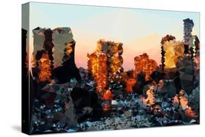 Low Poly New York Art - Sunset Pastel by Philippe Hugonnard