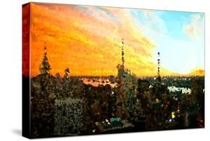 Low Poly New York Art - View of City at Sunset by Philippe Hugonnard