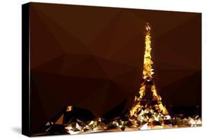 Low Poly Paris Art - Eiffel Brown Night by Philippe Hugonnard