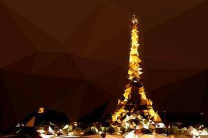 Low Poly Paris Art - Eiffel Brown Night by Philippe Hugonnard