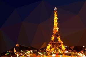 Low Poly Paris Art - Eiffel Night by Philippe Hugonnard