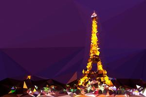 Low Poly Paris Art - Eiffel Purple Night by Philippe Hugonnard