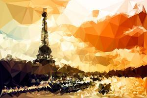 Low Poly Paris Art - Paris Sunset by Philippe Hugonnard