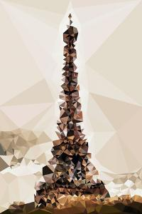 Low Poly Paris Art - The Eiffel Tower III by Philippe Hugonnard