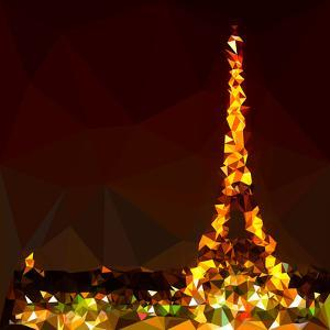 Low Poly Paris Art - The Eiffel Tower by Philippe Hugonnard