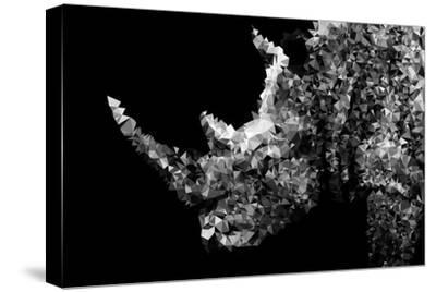 Low Poly Safari Art - Rhino - Black Edition II