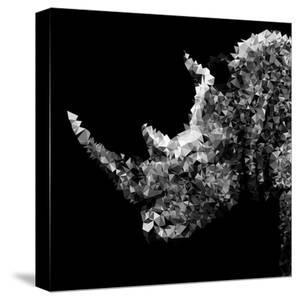 Low Poly Safari Art - Rhino - Black Edition III by Philippe Hugonnard