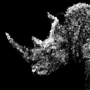 Low Poly Safari Art - Rhino - Black Edition III by Philippe Hugonnard