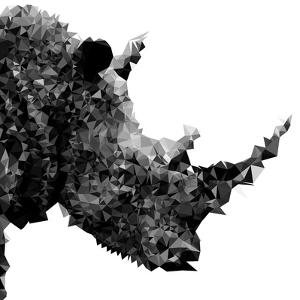 Low Poly Safari Art - Rhino - White Edition II by Philippe Hugonnard