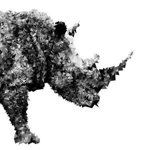 Low Poly Safari Art - The Rhino - White Edition by Philippe Hugonnard