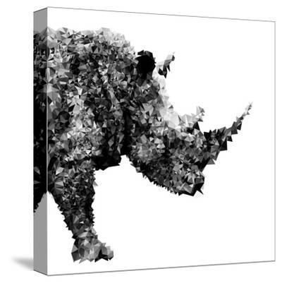 Low Poly Safari Art - The Rhino - White Edition