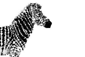 Low Poly Safari Art - The Zebra - White Edition by Philippe Hugonnard