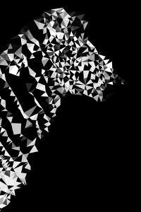 Low Poly Safari Art - Zebra Profile - Black Edition II by Philippe Hugonnard