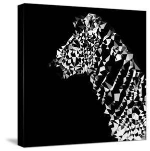 Low Poly Safari Art - Zebra Profile - Black Edition by Philippe Hugonnard