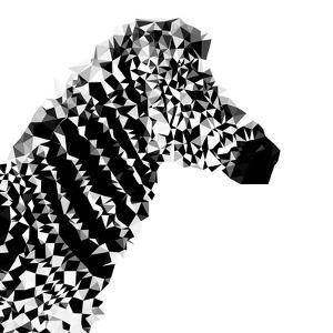 Low Poly Safari Art - Zebra Profile - White edition II by Philippe Hugonnard
