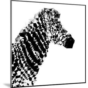 Low Poly Safari Art - Zebra Profile - White edition II by Philippe Hugonnard