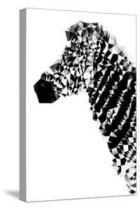 Low Poly Safari Art - Zebra Profile - White edition by Philippe Hugonnard