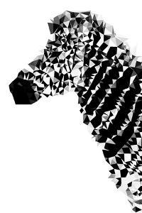Low Poly Safari Art - Zebra Profile - White edition by Philippe Hugonnard