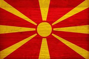 Macedonia Flag Design with Wood Patterning - Flags of the World Series by Philippe Hugonnard