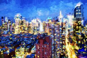 Manhattan Blue - In the Style of Oil Painting by Philippe Hugonnard