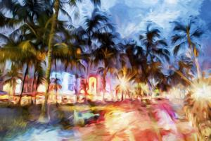 Miami Beach Night - In the Style of Oil Painting by Philippe Hugonnard