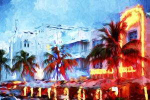 Night Ocean Drive - In the Style of Oil Painting by Philippe Hugonnard