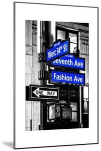 NYC Street Signs in Manhattan by Night - 34th Street, Seventh Avenue and Fashion Avenue Signs by Philippe Hugonnard