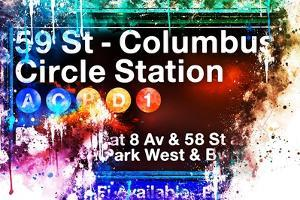 NYC Watercolor Collection - 59St Columbus Circle Station by Philippe Hugonnard