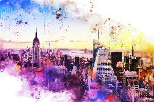 NYC Watercolor Collection - New York Skyline II by Philippe Hugonnard