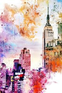 NYC Watercolor Collection - The Empire State Building by Philippe Hugonnard