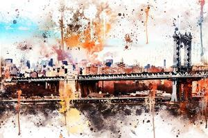 NYC Watercolor Collection - The Manhattan Bridge by Philippe Hugonnard