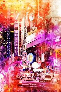 NYC Watercolor Collection - Times Square by Night by Philippe Hugonnard