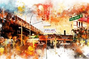 NYC Watercolor Collection - Urban Traffic by Philippe Hugonnard