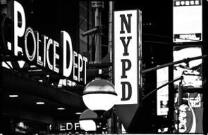 Nypd Police Dept, Times Square, Manhattan, NYCa with White Frame, Full Size Photography Vintage by Philippe Hugonnard
