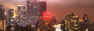 Panoramic Landscape Foggy Night in Manhattan with the New Yorker Hotel View by Philippe Hugonnard