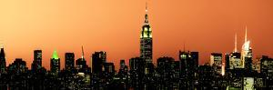Panoramic Skyline of the Skyscrapers of Manhattan by Orange Night from Brooklyn by Philippe Hugonnard