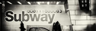 Panoramic View - Entrance of a Subway Station in Times Square - Urban Street Scene by Night