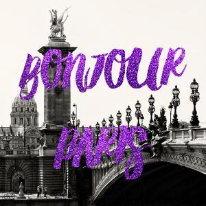 Paris Fashion Series - Bonjour Paris - Alexandre III Bridge and Lamppost by Philippe Hugonnard