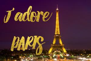 Paris Fashion Series - J'adore Paris - Eiffel Tower at Night II by Philippe Hugonnard