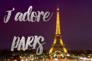 Paris Fashion Series - J'adore Paris - Eiffel Tower at Night III by Philippe Hugonnard