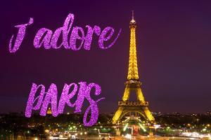 Paris Fashion Series - J'adore Paris - Eiffel Tower at Night IV by Philippe Hugonnard