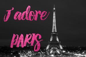 Paris Fashion Series - J'adore Paris - Eiffel Tower at Night VI by Philippe Hugonnard