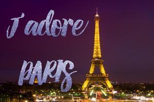 Paris Fashion Series - J'adore Paris - Eiffel Tower at Night by Philippe Hugonnard