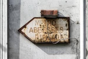 Paris Focus - Old Subway Directional Sign by Philippe Hugonnard